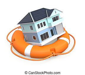 House in lifebuoy for home insurance concept.