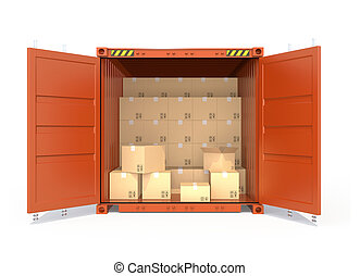 Opened red cargo container with car