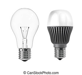 LED and incandescent bulb for ecology concept