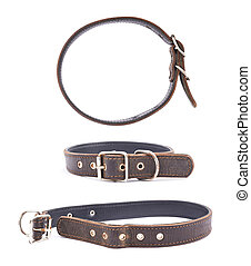 Old leather dog-collar isolated over the white background,...