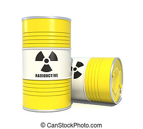Radioactive waste barrels on white background.