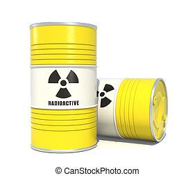 Radioactive waste barrels on white background.