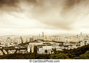 Shenzhen - Aerial view of Chinas coastal cities: Shenzhen