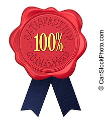 Satisfaction guaranteed wax seal with ribbons.