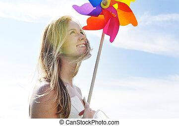 bonito, Noiva, Ao ar livre, coloridos, moinho de vento,...