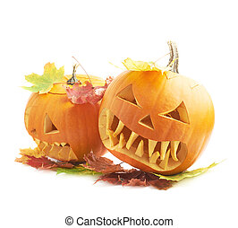 Two Jack-o-lanterns pumpkin heads - Two Jack-o-lanterns...