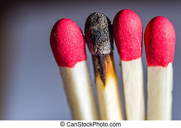 Matchsticks with one burned out