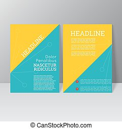 Vector brochure template design with triangles, icons and...