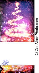 Abstract Christmas tree on a sparkling background