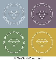 Set gemstones round banner. Minimal style Diamond icons.flat...