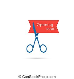 Scissors cut the red tape. The concept of the project, start...