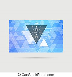 Gift card with triangles, mustache, hipster style. vector....
