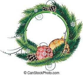 Pine Tree wreath with Christmas baubles and pine cones -...