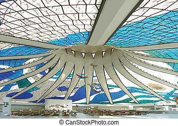 Brazilian cathedral indoor wiew fulfilled by Oscar Niemeyer
