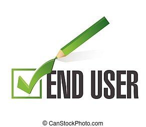 end user checkmark approval. illustration design over a...