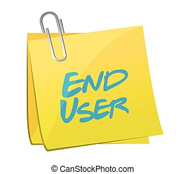 end user memo post illustration design over a white...