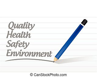 quality, health, safety and environment sign illustration...