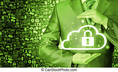 Protect cloud information data concept