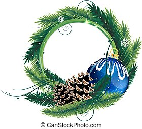 Pine Tree wreath with Christmas ball and pine cones -...