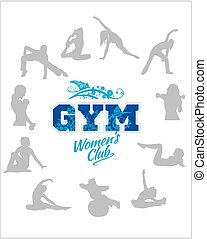 Womens Fitness GYM - vector stock - Womens GYM - Fitness...