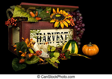 Harvest Blessings - Harvest box overflowing with autumn...