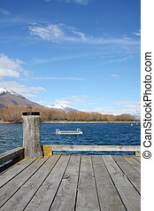 Wharf on the lake at Glenorchy New Zealand