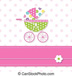 baby girl stroller greeting card - illustration of colorful...