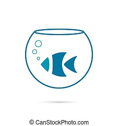 Creative element logo fish in an aquarium