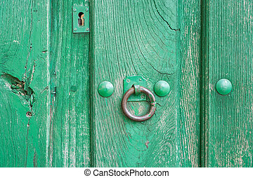 Old run-down green painted wooden door and iron nails -...