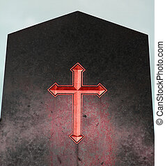 Red Cross on black plaque of hell - the emblematic Red Cross...