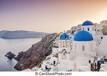 Iconic blue domed church in Fira, Santorini, Greece - Fira...