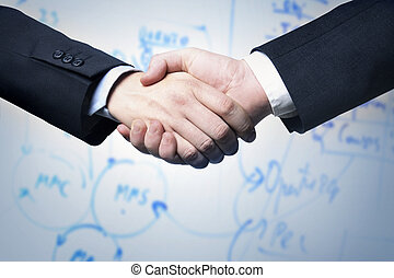 Business handshake and s plan i background
