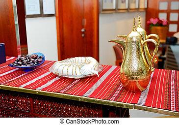 árabe, cafetera, en, vestíbulo, de, el, lujo,...