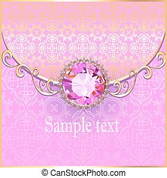 background with pink gems and gold ornaments