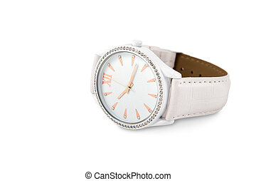Women's watches with crystals isolated on a white...