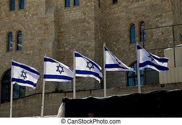 Israeli Flag in Jerusalem - Israeli flag fluttering in the...