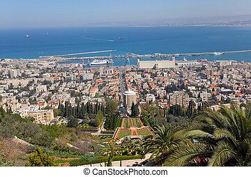 Israel, Haifa - city of Haifa with the harbor at the back,...
