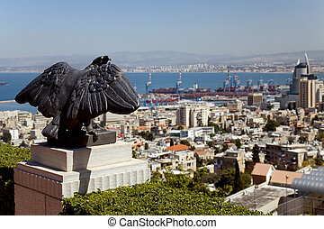 Israel, Haifa - Stone eagle, and view of the city of Haifa