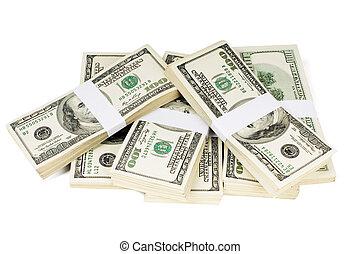 aislado, pilas, de, dinero,
