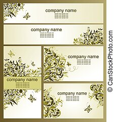 Business cards with olive floral design