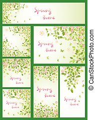 Spring templates with apple-tree