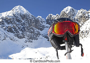 Ski helmet and High Tatras, Slovakia
