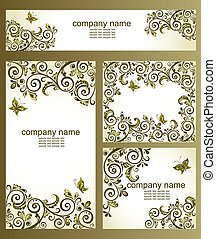 Vintage business cards with floral olive design