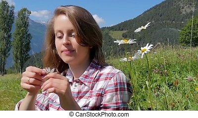 romantic girl with daisy - He Loves Me, Loves Me Not Daisy...