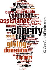 Charity word cloud concept Vector illustration
