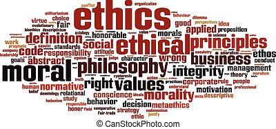Ethics word cloud concept Vector illustration