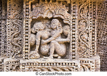 Bas-relieves of Konark - Famous erotic stone carving on the...