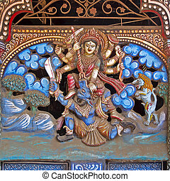 Goddess Chamunda - Hindu Goddess Chamunda fighting with...
