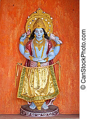 Lord Vishnu - Sculpture of Lord Vishnu on the wall of temple...