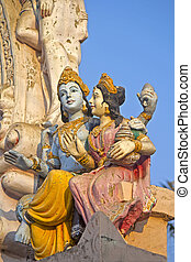 Lakshmi and Vishnu - Sculpture of Lakshmi and Vishnu on the...